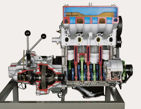 Diesel engine of a VW Golf with transmission