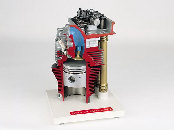 Zylinder und Zylinderkopf mit Stößelsteuerung