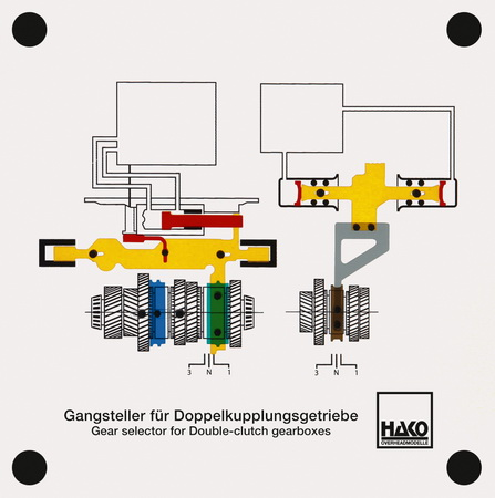 gear changing device for duplex clutch transmission